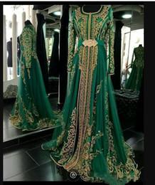 Dubai kleidet entwürfe online-Emerald Green Muslim formale Abend-Kleider mit langen Ärmeln Abaya Designs Dubai türkischen Abschlussball-Abend-Partei-Kleider Günstige marokkanische Kaftan