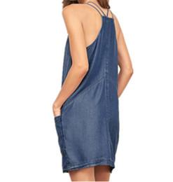 Vestido de bolsillo de mezclilla online-2019 nuevas mujeres Denim Shift Dresses con bolsillos Doble Camis Backless Moda Outer Dress Mujer Mujer Casual Wear Plus Size