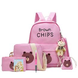 mochila de oso pardo Rebajas 8 PC / sistema multifuncional Mochila Brown del oso del bolso de escuela las muchachas del muchacho de viaje para niños Mochilas lona de los niños del bolso de escuela de Mochila