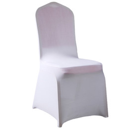 50 unids / lote Universal White spandex Wedding Party chair covers Blanco Spandex lycra cubierta de la silla para Wedding Party Banquet desde fabricantes