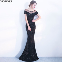 2019 vestido de organza maxi Robe De Soiree atacado Elegante Backless Longo Vestido De Noite Sereia Partido Negro Lantejoulas Maxi vestido de organza maxi barato