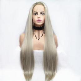Perruque blanche pure en Ligne-Chaude Sexy 26 pouces Long Platinum Droite Synthétique Perruque Avant de Lacet Couleur Pure Résistant À La Chaleur Fibre Naturelle Hairline Doux Perruques Pour Les Femmes Blanches