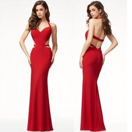 2019 broderie à la mode En gros 2018 Simple sans manches pendaison cou femmes Vêtements Sexy Red Self Culture Culture Designer Dress Robe de cérémonie Robes Casual