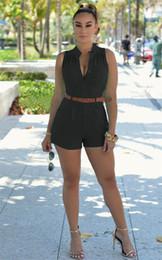 combinaisons multicolores Promotion Femmes maigre col V Combinaisons simple boutonnage Sexy avec écharpes multicolore en option portant haute taille courte