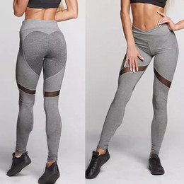 1e96ca4898689 Heart Fitness Pants Women Girl Sexy Hip Up Tight Yoga Pants High Waist Sports  Pant Mesh Gym Leggings Sport Women Fitness