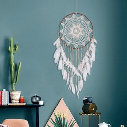 2019 grandes plumas de decoracion 2018 Venta Caliente Gran Hecho A Mano Dreamcatcher Blanco Pluma de Encaje Indian Dream Catcher Colgando Decoración Ornamento Regalo de la mascota s Q190606