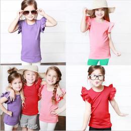 Crianças esporte on-line-Crianças Roupas Bebê Sólido Plissado Camisetas Meninas Verão Sem Mangas Tops Candy Street INS Camisas de Algodão Tees Casuais Moda Tanques Esportivos B6174