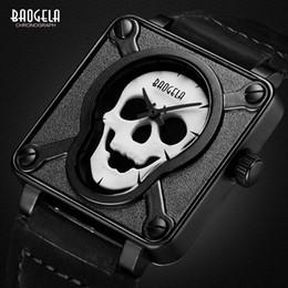 мужские часы черный квадратный циферблат Скидка Baogela Мужские Водонепроницаемый Черный Коричневый Кожаный Ремешок Квадратный Циферблат Кварцевые Наручные Часы с Светящимся Черепом BGL1701