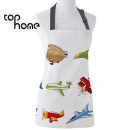 Tophome avental de cozinha diferentes tipos de aeronaves modelo impresso lona aventais para homens mulheres crianças ferramentas de limpeza em casa cheap cleaning aprons home de Fornecedores de limpeza aventais casa
