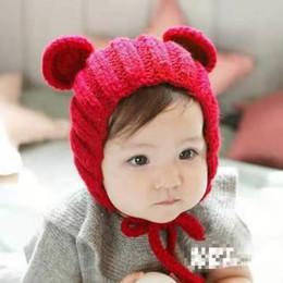 neonato coreano Sconti Cappello da bambina coreana per neonato Autunno Inverno Moda Neonato Cappello lavorato a maglia caldo all'orecchio Micky Cappellini di lana fatti a mano