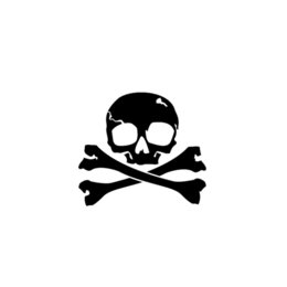"Ampie finestre online-Pirata Jolly Roger Skull Sticker Car Truck Finestra- 6"" Wide Color Bianco bello e fresco Adesivi"