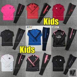 Trajes de fútbol para niños online-Nuevo chándal Psg para niños 2019 2020 psg Chandal de fútbol rosa Chandal MBAPPE Boys 18 19 Kit de entrenamiento de fútbol para niños Paris Survetement