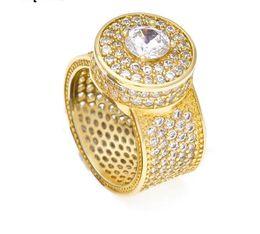 El oro del estilo 18k de la calle de la joyería de HIP HOP plateó el anillo grande de los men.s de la piedra preciosa para el precio de fábrica desde fabricantes