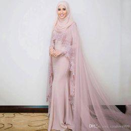 Moderne moslemische frauen abendkleider online-Moderne staubige rosa muslimische Abendkleider mit langen Ärmeln mit Cape Muslime Frauen Braut formale Kleider Appliques Party Kleider