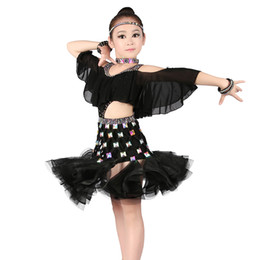 Canada Sexy Cold Shoulders Strass Latin Performance Dress Filles Enfants Taille Haute Fluffy Jupe Ballroom Latin Salsa Danse Robe cheap children sexy dance dress Offre