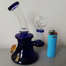 Due bongietti in vetro a due funzioni online-Due funzioni rosa blu tartaruga forma 17cm Mini vetro Bong Perc Dab rig vetro piccola Becher Bongs olio Rig con 14,4 millimetri comune