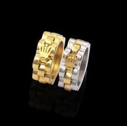 Hochwertiger Edelstahl-Goldwellen-überlagerter Palmen-Kronen-Ring für Mann-Frauen-Marken-Schmuck von Fabrikanten