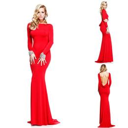meilleures robes de bal de sirène d'or Promotion Nouvelle Arrivée Rouge Sexy Robes De Soirée Dos Nu Sirène Avec Manches Longues Bateau Décolleté Cristal Perlé Robes De Bal