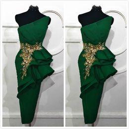 2019 Vestidos de madre de novia baratos sexy verdes árabes Vestidos de madre de novio con encaje de un hombro Vestidos de noche de fiesta formal de satén ZJ345 desde fabricantes