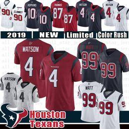 Grüne bucht trikots online-Houston 4 Deshaun Watson Jerseys Texans 99 J.J. Watt 10 DeAndre Hopkins 90 Jadeveon Clowney 87 Demaryius Thomas 32 Tyrann Mathieu Trikot