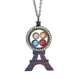 pingente de pérola flutuante Desconto Magnético Colorido Torre Eiffel De Vidro Viver Medalhão De Memória Pingente De Gaiola De Pérolas Flutuante Encantos Pingente de Colar Com Corrente De Aço