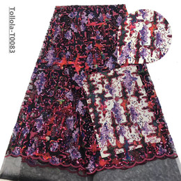 nigeria paillettes Promotion Paillettes dentelle Tissu 2019 paillettes de vin Laces Nigeria Tissu de haute qualité française Tulle Dentelle Tissu Femmes Robe