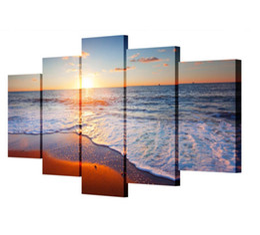 Pintura a óleo por do sol on-line-5 Peça Da Arte Da Lona Pintura Pôr Do Sol Seascape Praia Decorativa Canvas Wall Painting Modular Pictures Pinturas A Óleo Sem Moldura
