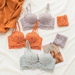 9dddd4d0304 wholesale Women Fashion Pruple Orange Green Sexy Lingerie Wireless Lace  Panties Padded Bras Push Up Bra Sets Underwear Cup A B