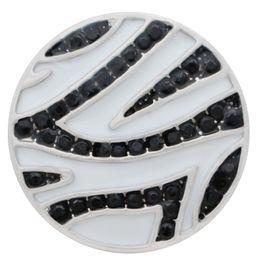 5 unids patrón de cebra 18 mm 20 mm botones a presión plateado con rhinestone negro KC9914 encaje joyería bricolaje broches pulseras para mujeres desde fabricantes