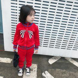 Kids Designer Clothes Sets Stripe Bow Long Sleeve Jacket + Striped Trousers  2pcs Suits Girls sportswear Winter Children Tracksuit C4198 ec281b780