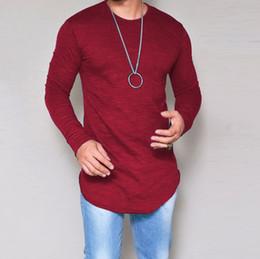 Реверсивные майки оптом онлайн-Мужчины футболка с длинным рукавом Sportwear Mens T Shirts Tee O-образным вырезом футболки оптом