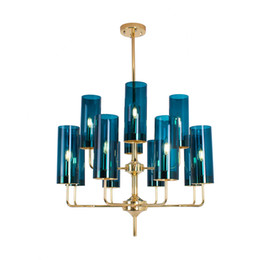 Luzes de trabalho nordicas led on-line-Luz pingente de vidro pós-moderna Nordic luz luxo ferro forjado moda personalidade sala de estar sala de jantar villa pendurado lâmpada