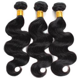 lula capelli umani Sconti Aichen indian weave bundles body wave bundles 100% capelli umani 3 bundles wave color 1B nero grande inventario grossista
