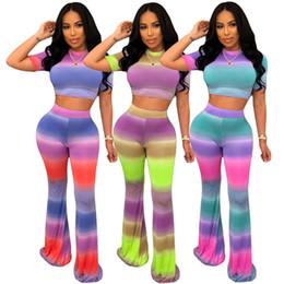 Frauen 2 Stück Set Trainingsanzug Tie Dye Kontrastfarbe Kurzarm Crop Top Skinny bodenlangen Hosen Sommerkleidung Mode lässig Outfit 760 von Fabrikanten