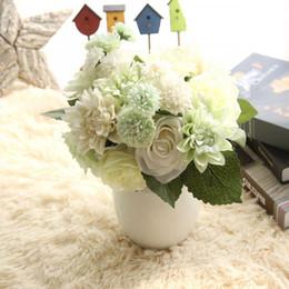 Dalia flores artificiales online-Dahlia de seda de simulación de dalia híbrida decoración de la boda dahlias falsos nupcial flor Ramos de flores decoración para el hogar