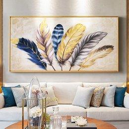 2019 belle donne di pittura ad olio Oro piuma grafici murale moderna tela astratta pittura casa soggiorno camera da letto decorazione della parete della pittura funziona Y200102