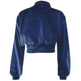 бархатный шик Скидка Spring New Women Fashion Sexy Autumn Chic Long Sleeve Velvet High Collar Crop Tops Solid Color Tunic Shirt Female