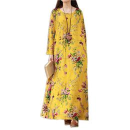 2019 novos vestidos de algodão maxi Novas Mulheres Do Vintage Maxi Floral Vestido Plus Size Mangas Compridas Bolsos O Pescoço De Algodão de Linho Vestes Soltos Robe Vestidos novos vestidos de algodão maxi barato