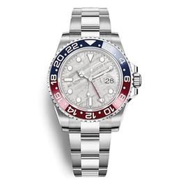 Relojes de pulsera azules online-Nuevo 2019 modelo para hombre reloj de pulsera de acero inoxidable 316L azul rojo Pepsi reloj automático GMT movimiento reloj limitado Orologio di Lusso Master regalo