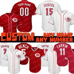 2019 joey baseball Personalizado 15 Nick Senzel Cincinnati beisebol Reds 5 Johnny Banco 19 Joey Votto 30 Ken Griffey Jr. 11 Barry Larkin 33 Jesse Winker 66 Yasiel Puig desconto joey baseball