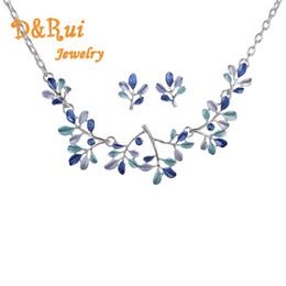 blaue halskette für hochzeit Rabatt Amerikanische Mode Hochzeit Schmuck Sets Charme Frauen Sommer Kleidung Zubehör Blue Leaf Kette Halsketten Silber Farbe Ohrringe