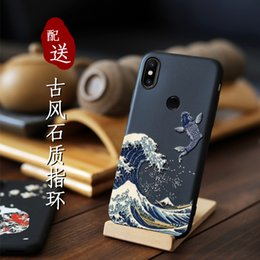 2019 ótimos telefones Grande emboss phone case para xiaomi mi mix 3 Mix3 Mix 2s Mix2s Capa Kanagawa Ondas Carp Cranes 3d Gigante Relief Caso J190629 ótimos telefones barato
