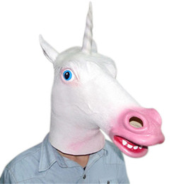 masque de licorne effrayant Promotion Creepy animal Unicorn Head Latex chaud Masque Halloween Costume Théâtre Prank Prop fou Masques Z