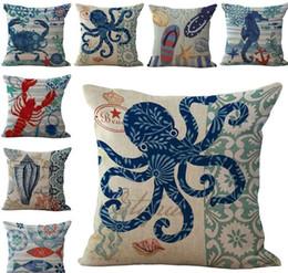 Sea Life Starfish Conch sea horses Polpo Cuscino Fodera per cuscino Quadrato in lino cotone Fodera federa Home divano Decor da