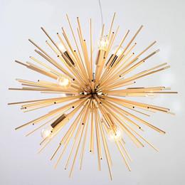 Подвесной светильник с современной сферой онлайн-Постмодерн Золотой Подвесные Светильники Гостиная Ресторан Кабинет привело радиационная сфера искусства Личность дизайн подвесной светильник