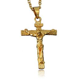 Venda da corrente da cruz de jesus on-line-Jesus Designer Colares Hip Hop Congelado Pingente Colares Cruz Chains Colares Declaração de Moda Venda Direta Da Fábrica Por Atacado