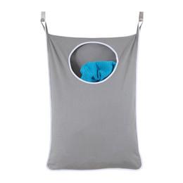 Ganchos para copos grandes on-line-Porta do agregado familiar Hanging Hamper Extra Grande Wall Mounted Lavandaria Saco Organizador Com Aço Inoxidável E Ventosa Gancho C19041701