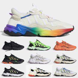 2019 Gradient Fierté Xeno Ozweego Souliers simple d homme Femmes Blanc Nuage Noir Triple Neon Vert Jaune Sport solaire Formateurs Chaussures de sport