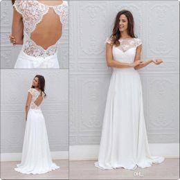 Vestidos de gasa de china online-2019 Nueva Bohemia verano vestidos de novia de playa Vestido De Noiva China Garden Backless Boho una línea de vestidos de novia de gasa para mujeres