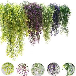 Appeso viti verdi online-Fiori artificiali vite edera foglia di seta appeso vite pianta finta piante artificiali ghirlanda verde casa decorazione della festa nuziale